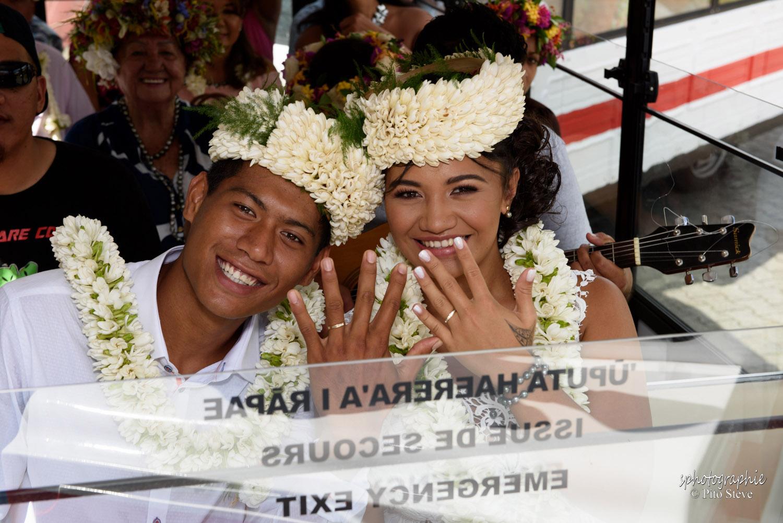 Tour privé de Papeete. Mariage en petit train à Papeete